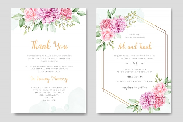Watercolor wedding invitation card with beautiful floral and leaves template Premium Vector