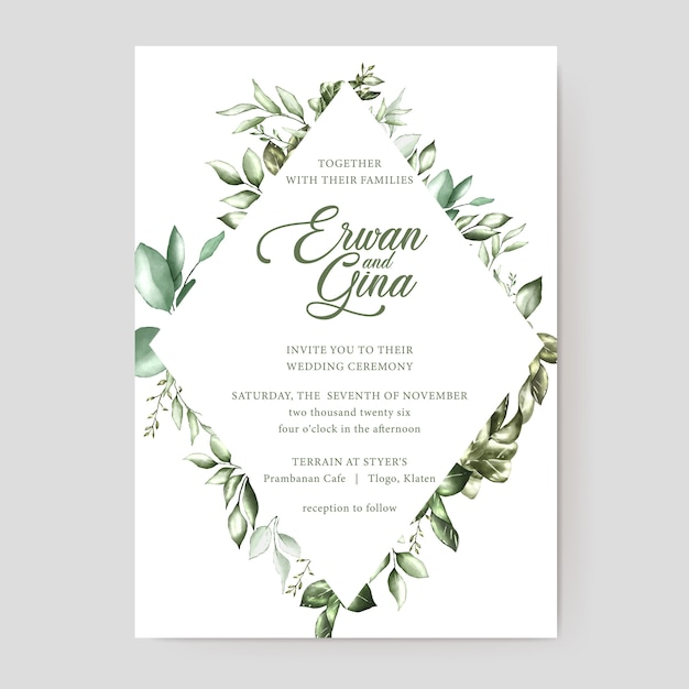 Watercolor Wedding Invitation Card Vector Premium Download