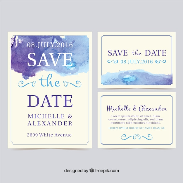 watercolor wedding invitation cards vector free download