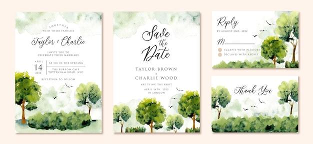 Акварель свадебные приглашения с зеленым пейзажем Premium векторы