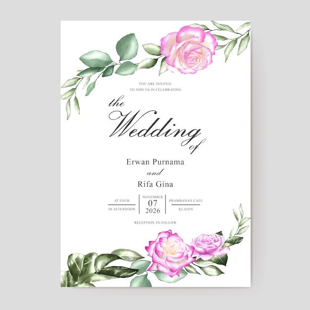 Watercolor Wedding Invitation Template Card Design Vector