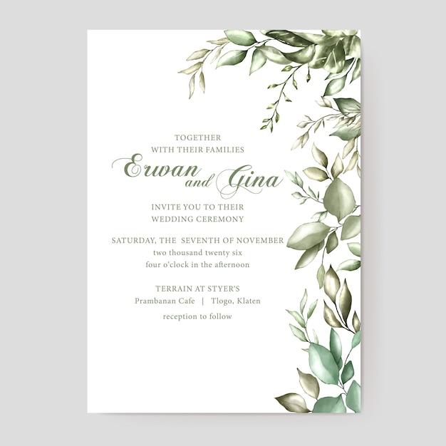 Watercolor wedding invitation template card design Premium Vector