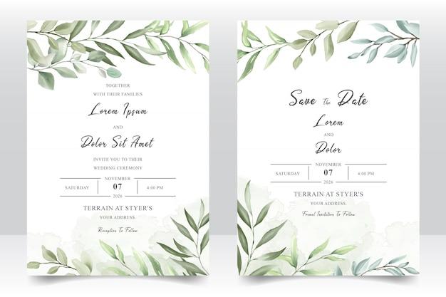 Watercolor wedding invitation template card Premium Vector