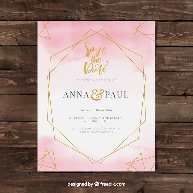 watercolor wedding invitation template with geometry vector free