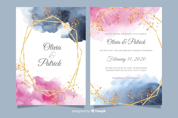 Watercolor wedding invitation template with golden frame Free Vector