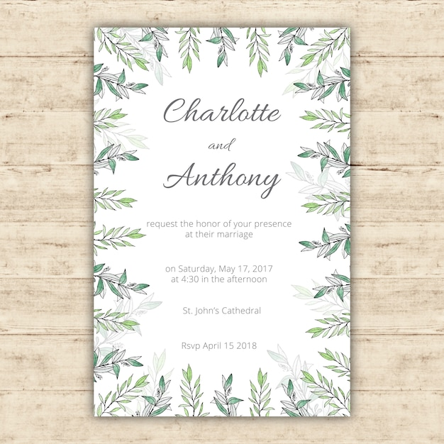 watercolor wedding invitation template with green leaves vector