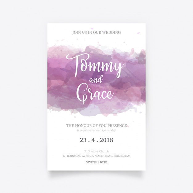 watercolor wedding invitation template vector free download