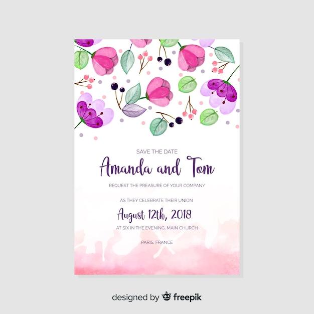 Watercolor wedding invitation template Free Vector