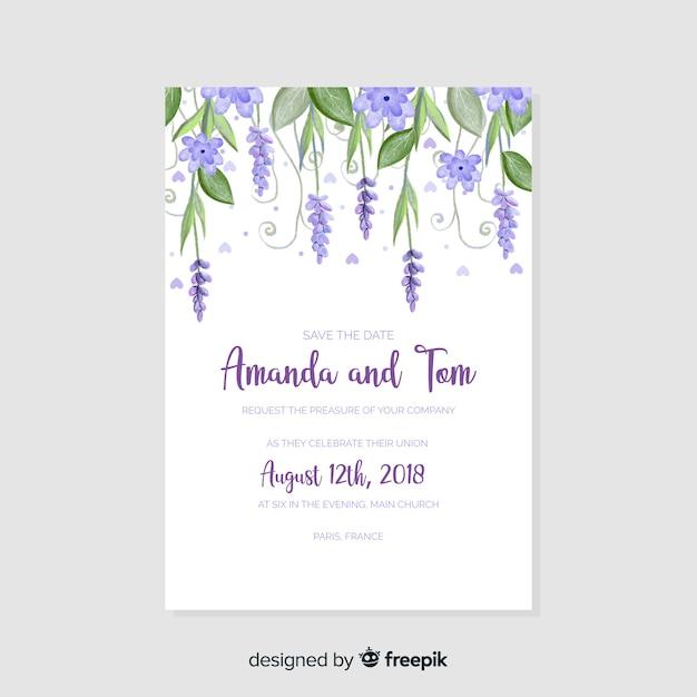 Free Wedding Invitation Downloads: Watercolor Wedding Invitation Template Vector
