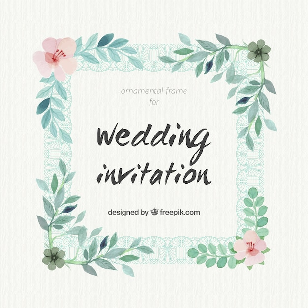 Watercolor Wedding Invitation With A Floral Frame Free Vector