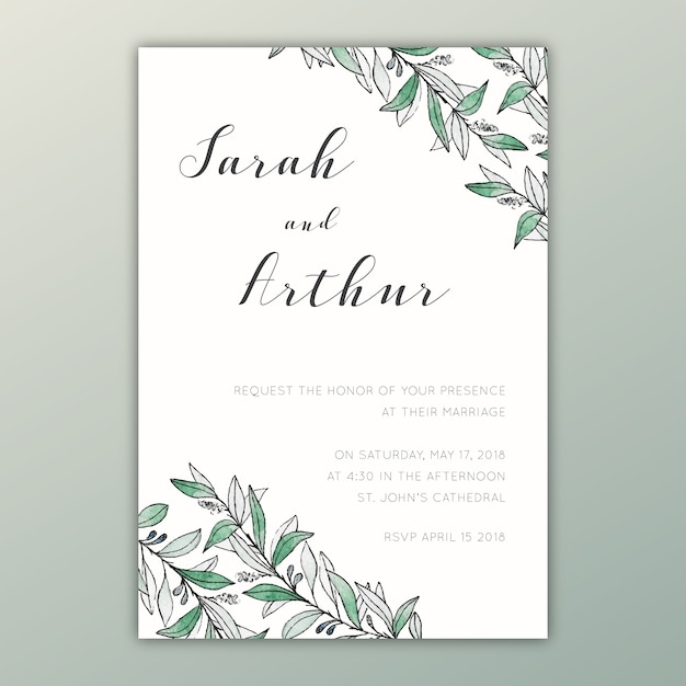 Watercolor wedding invitation with botanical illustrations Free Vector