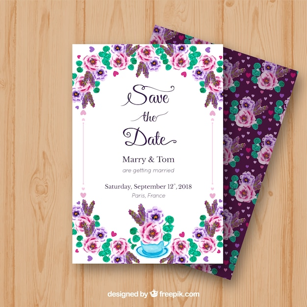 Watercolor wedding invitation with colorful roses