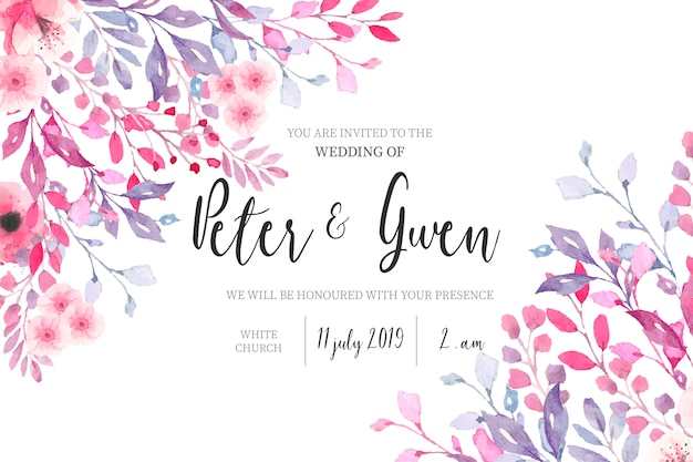 Watercolor wedding invitation with floral border Free Vector