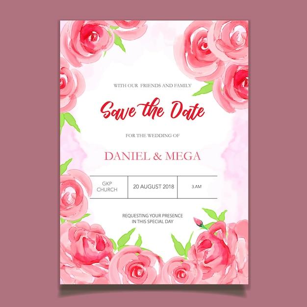 Watercolor wedding invitation with flowers Premium Vector