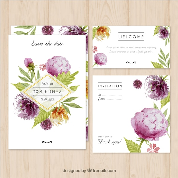 Watercolor wedding invitation with flowers Vector Free Download