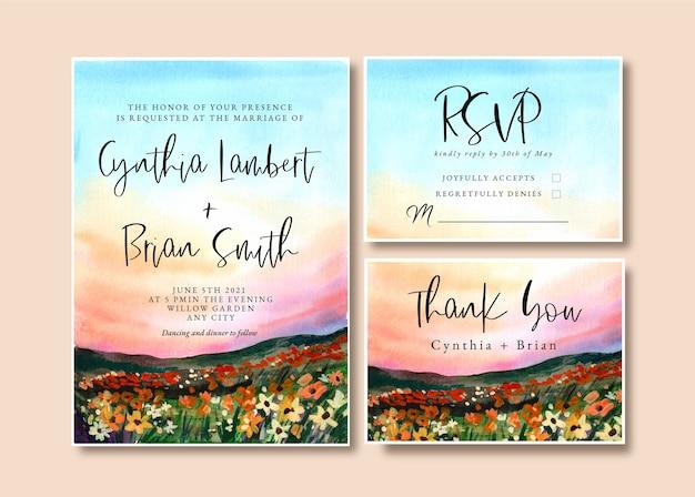 ランドスケープガーデンと夕日の空と水彩の結婚式の招待状 Premiumベクター