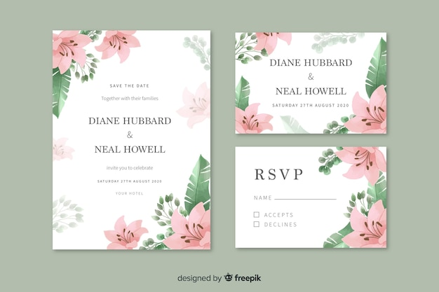 Watercolor wedding invitation with pink flowers Free Vector