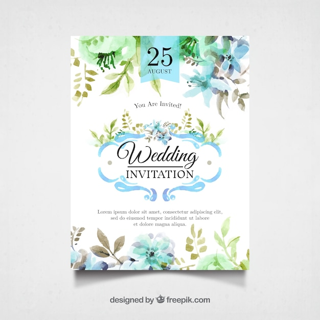Watercolor wedding invitation with pretty flowers Free Vector