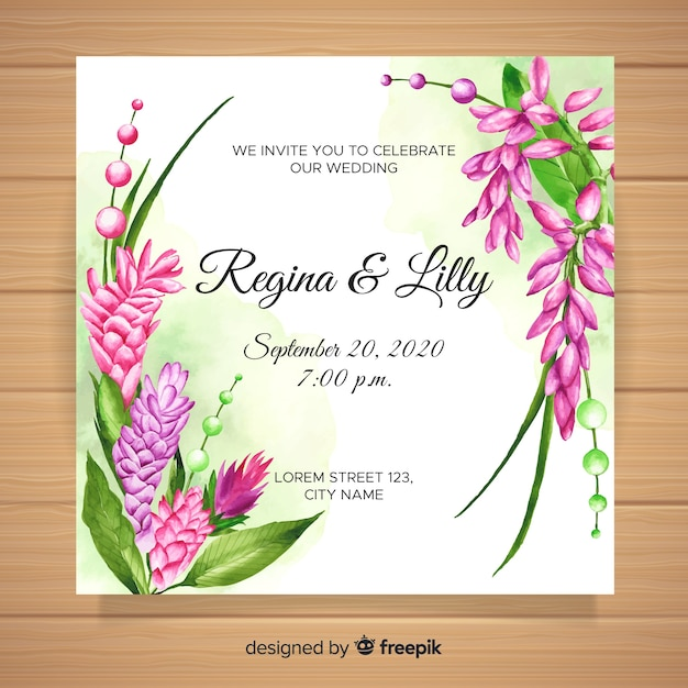 Watercolor wedding invitation with tropical flowers Free Vector