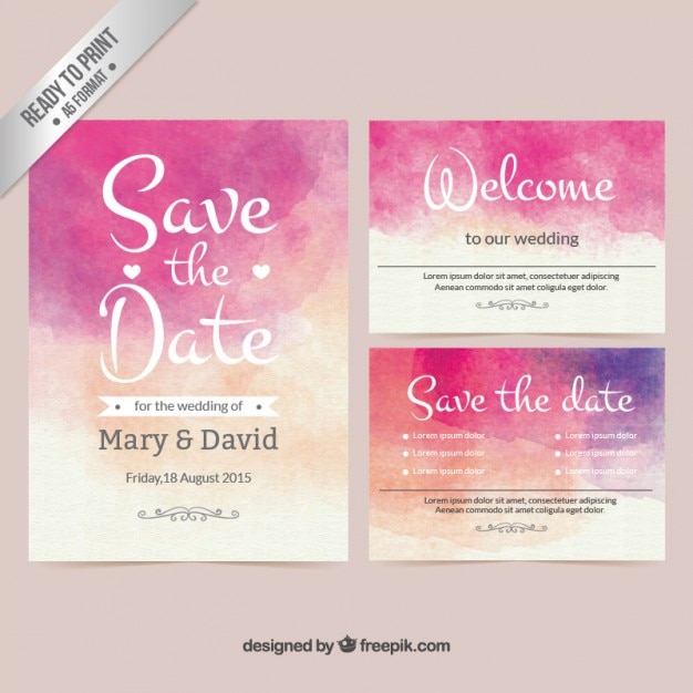 Watercolor Wedding Invitation Vector Free Download