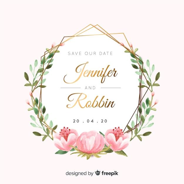Watercolor wedding invitation Free Vector