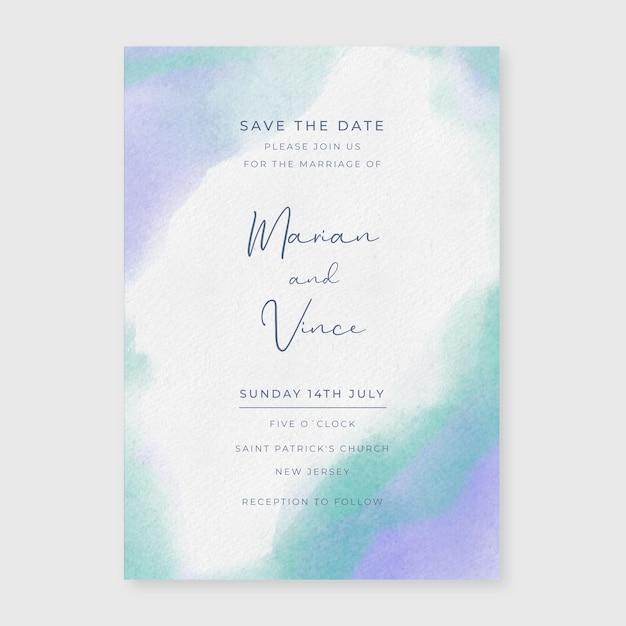 Invito a nozze dell'acquerello Vettore gratuito
