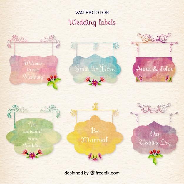 Watercolor wedding labels Free Vector