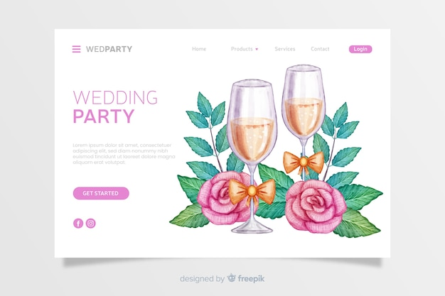 Watercolor wedding landing page Free Vector