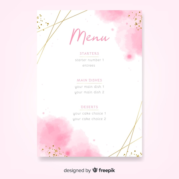 Watercolor wedding menu template with frame Free Vector