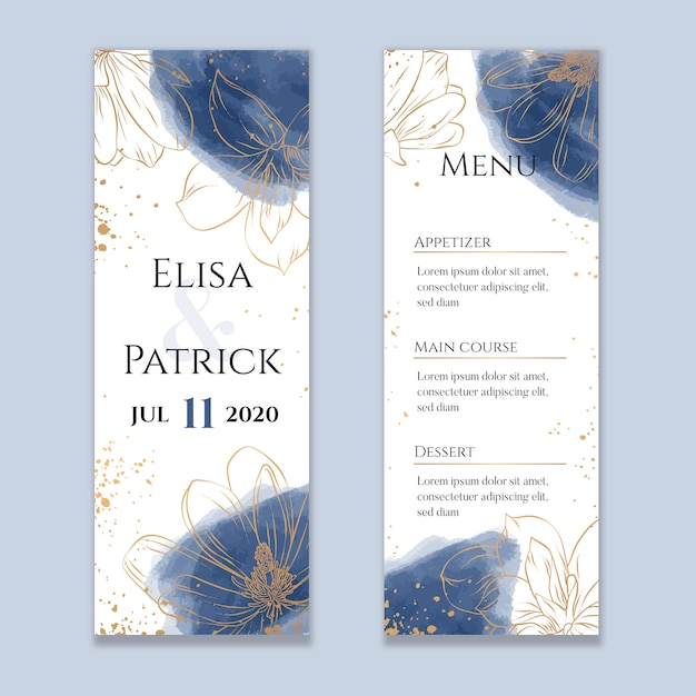 Watercolor wedding menu with golden lines Premium Vector