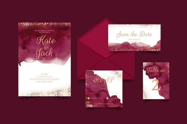 Watercolor wedding stationary Free Vector