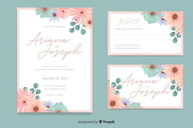 Watercolor wedding stationery template collection Free Vector