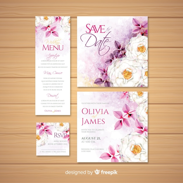 Watercolor wedding stationery template collection Premium Vector