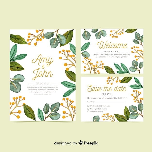 Watercolor wedding stationery template set Free Vector