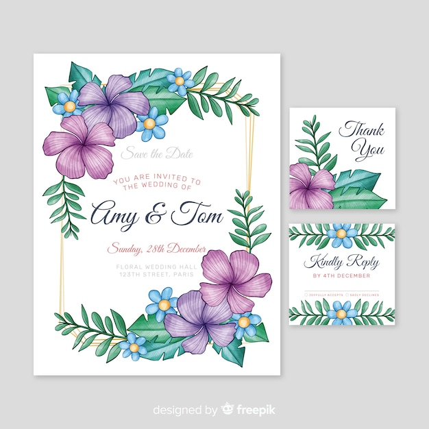 Watercolor wedding stationery template Free Vector