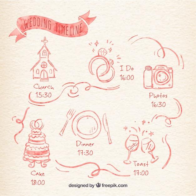 Watercolor Wedding Timeline Vector Premium Download - Wedding timeline free template