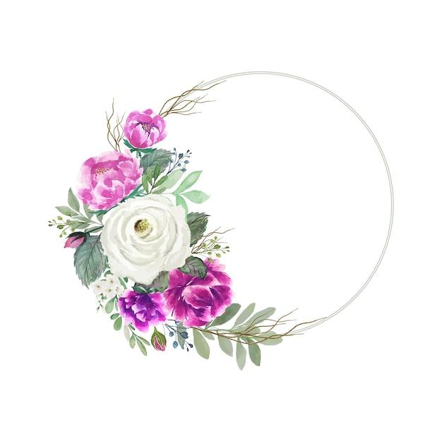Акварельный бело-розовый букет цветов с круглой рамкой Premium векторы