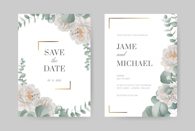Watercolor white peony wedding invitation card in gold frame. eucalyptus leaves. beautiful design gr