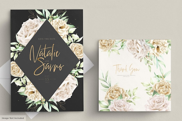 Watercolor white roses card template Free Vector