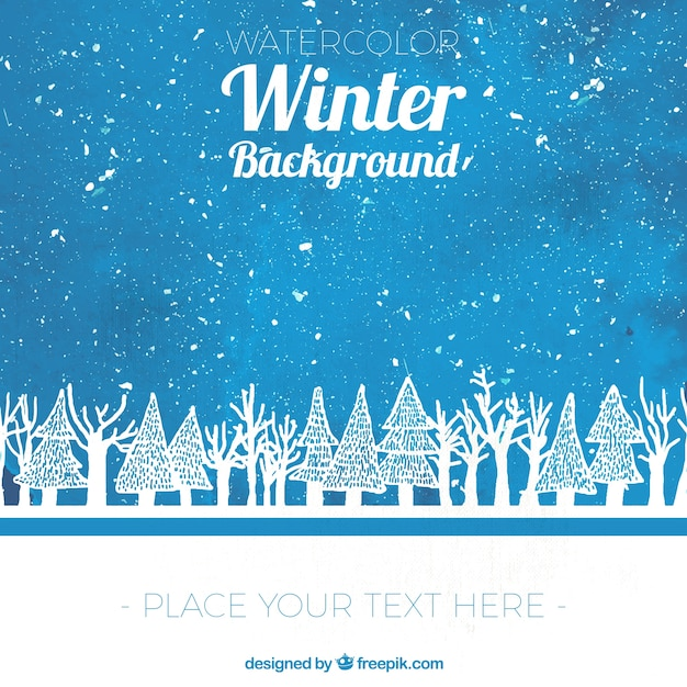 Watercolor winter background with sketches of trees Free Vector