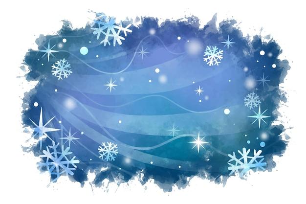 雪片と水彩の冬の背景 Premiumベクター