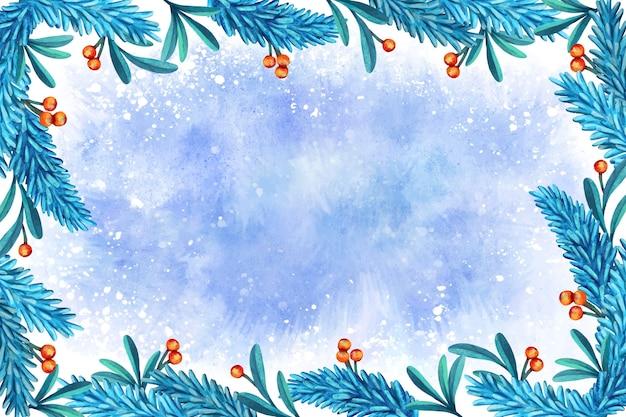 Priorità bassa di inverno dell'acquerello Vettore gratuito