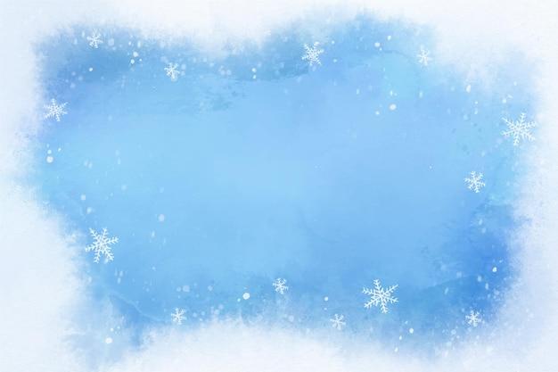 水彩冬の背景 無料ベクター