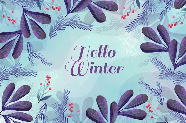 水彩冬の背景 Premiumベクター