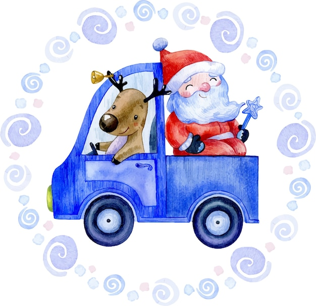 Watercolor winter christmas illustration of santa claus with deer in blue car Premium Vector