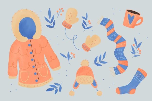 水彩の冬服と必需品 無料ベクター