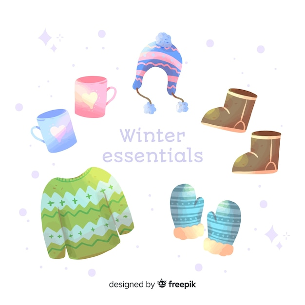 Watercolor winter clothes and essentials Free Vector