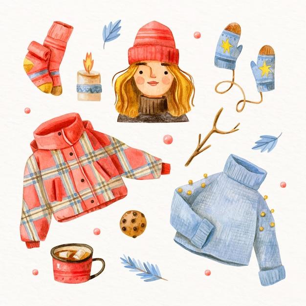 Vestiti invernali ed elementi essenziali dell'acquerello Vettore gratuito
