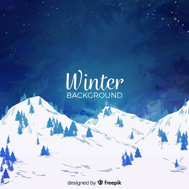 Watercolor winter landscape background Free Vector