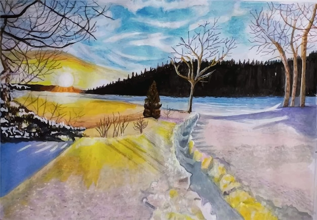 Watercolor winter landscape view hand drawn illustration Premium Vector